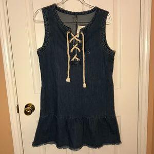 AERIE Denim Tie-up Tank Dress Size M